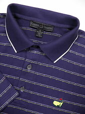 CLUBHOUSE MENS LARGE GOLF POLO SHIRT PURPLE STRIPE AUGUSTA MASTERS LOGO ITALY