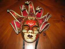 RED GOLD MUSIC JOKER VENETIAN MASQUERADE MASK MARDI GRAS CARNIVAL PARTY MASKS