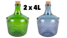 2 x Glass Demijohn Jug 4 L Blue And Green + Corks  Fast Fre Shipping UK