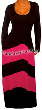 TM2 FUNFASH BLACK PINK CHEVRON LONG SLEEVES MAXI DRESS WOMEN Plus Size 1X 18 20
