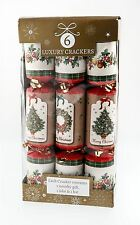 6 Pack Luxury Vintage Christmas Crackers Plain Tree & Wreath Table Decoration