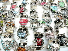 Wholesale lots 50pcs mixed crystal rhinestone owl animal adjustable rings hot