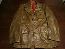 Vtg Mens Golden State Leather Mod Pocket Fight Club Western Jacket Coat Sz 38