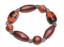 BOHO WOOD AND PLASTIC BEADS BRACELET WITH ORNAMENTAL SILVER SMALL BEADS(ZX49)