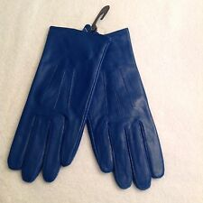 Ladies Vecci Dark Blue Fine Nappa LEATHER Lined Gloves size Medium/Large