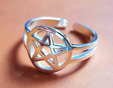 New - Pentacle TOE RING Sterling 925 Silver Adjustable Pagan Wiccan Bohemian  c5