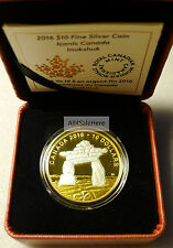 *RARE ERROR Shadow* 2016 Canada 1/2 Oz Reverse Gold Plated Inukshuk Silver Coin