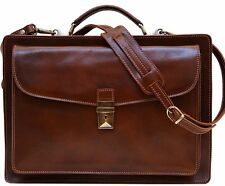 Floto Imports Luggage Corsica Briefcase Italian Calfskin Leather, Brown