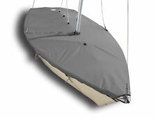 Pirateer Sailboat - SLO Sail and Canvas Boat Mast Up Flat Cover - Gray Polyester