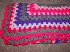 "RETRO GRANNY LAP BLANKET CROCHETED CHAIR THROW PINK  PURPLE ""SPARKLY"" NEW B1324"