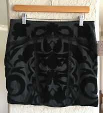Free People Skirt M Charcoal Gray Black Velvet Lace Paisley NWT F271S308