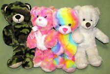 """BUILD A BEAR Lot Teddy Bear Green Camo Rainbow Endless Hugs Ivory White 16"""" Toys"""