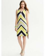 MILLY Banana Republic 2 P Petite XS yellow black chevron stripe ponte knit dress