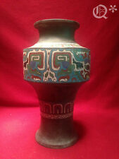 Antique Asian Bronze with Enamel Vase Made in Japan
