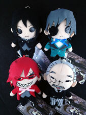 Black Butler Kuroshitsuji Plush Doll Mascot Key Chain Complete set of 4 Sega