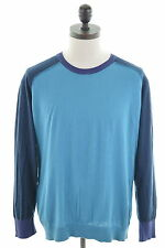 PAUL SMITH Mens Crew Neck Jumper Sweater Large Turquoise Cotton