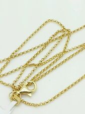 "14k Yellow Gold Round Rolo Link Necklace Pendant Chain 18"" 1.1mm"