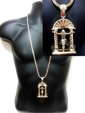Hip Hop Iced Out Gold NEW Jesus Piece Pendant Franco Chain Crystal Necklace Set