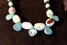 "Turquoise Teardrop, Agate, Crystal Handmade Beaded Necklace 16"" Toggle Clasp"