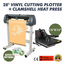 "15""x15"" Heat Press Transfer 28"" Vinyl Cutting Plotter Kit Artcut Software cutter"