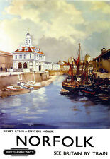Art Ad Kings Lynn Custom House Norfolk British  Train Rail Travel  Poster Print