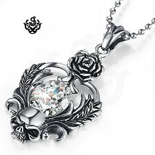Silver stainless steel rose heart skull simulated diamond soft gothic pendant