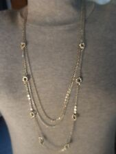 "Cute Tri-strand Silver-tone Chain Necklace w/Round Metal Beads and No Clasp 29""."