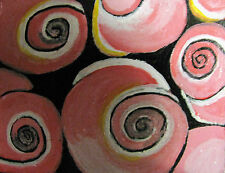 "ORIGINAL ACRYLIC ACEO PAINTING BY LJH  ""PINK SEA SHELLS""  A244"