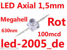 20 x LED 1,5mm Rot, 100mcd, 630nm, LED Axial 1.5mm Rot, LED ROT 1,5mm, MINILED