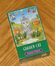 Garden Cat Elizabeth Brownd vtg mini puzzle 2002 Great American Puzzle Factory