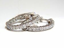 .76ct natural round brilliant in/out diamond hoop earrings 14kt g/vs .72 inch