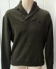 Ralph Lauren Mens Polo french rib cotton shawl sweater sweatshirt olive small
