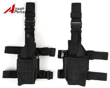 Airsoft Tactical Pistol Drop Leg Holster Pouch Bag for Right + Left Hand Black