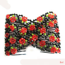 New Stretch Rose Flower Bow Glass Bead Hair Head Comb Cuff Double Clip Xmas Gift
