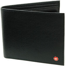 Alpine Swiss Men's European Leather Wallet Oversized Extra Capacity Pounds Euros