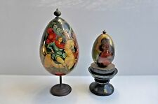 Vintage Russian Lacquer Eggs on Stand