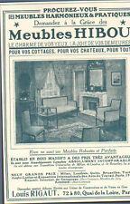 PARIS QUAI DE LA LOIRE PUBLICITE ETS LOUIS RIGAUT MEUBLES HIBOU 1913