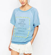 Wildfox Couture Make Limoncello Sweatshirt In Dirty Blue Iris Size S