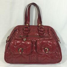 Maxximum Shoulder Bag Purse Handbag Tote Large Red Patent Quilted Lined