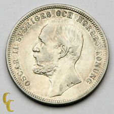 1897 Sweden Krona Silver Coin in Vf+ Km# 760