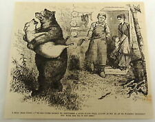 1878 magazine engraving ~ BEAR CARRIES PIG OFF IN HIS ARMS