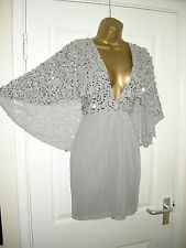 SIZE 4 ASOS SILVER CAPE MINI DRESS PLUNGE FRONT SEQUIN 20'S 30'S VINTAGE STYLE