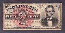 "Us 50c Fractional Currency ""Lincoln"" 4th Issue Fr 1374 Vf"