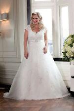 übergroß Weiß Elfenbein Spitze A-Linie Hochzeitskleid Becherhülse40 42 44 46 48+