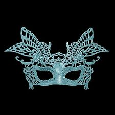 30cm Ice Blue Glitter Masquerade Mask - Christmas Tree Decoration - Fancy Dress
