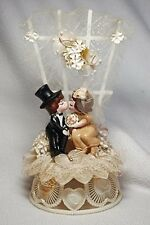 "Vintage Mid-Century Cake Topper Bride Groom 9.5"" tall Unique"
