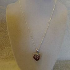 Crystal Avenue Purple/Pink Clear Rhinestone Heart Silver Pendant Chain Necklace