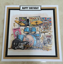 Handmade Happy Birthday 3D decoupage electric guitar rock band drums music card