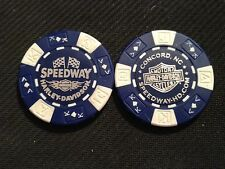 """Harley Davidson Poker Chip (Blue & White) """"Speedway"""" Concord NC. HOME OF NASCAR"""