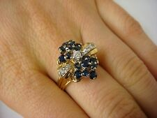 !STUNNING VINTAGE 14K YELLOW GOLD SAPPHIRES AND DIAMONDS LADIES RING, SIZE 8.5